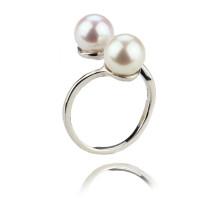 Bague à bijoux en perle véritable à double bouton