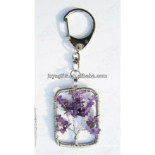 Natural Amethyst chip stone wired lucky tree pendant keychain