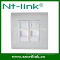 Hochwertige Dual-Port-Rj45-Face-Platte mit Boden-Box, geeignet für rj45 Keystone-Modul-Buchse