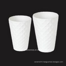 Embossed Surface White Porcelain Vase