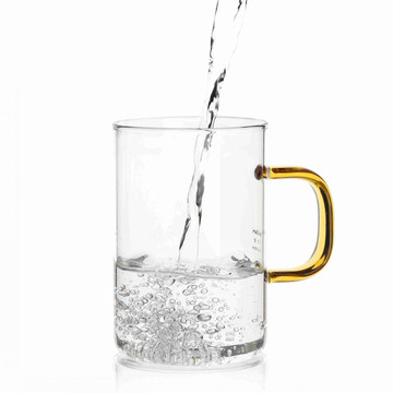 Single Wall Glass Cup With Golden Handle