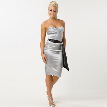 Form-fitting Sweetheart neckline Knee-length Satin Belt Cocktail Dress