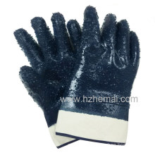 Jersey Fully Dipped Rough Finish Blue Nitrile Gloves Safety Work Glove