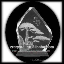 K9 Intaglio de cristal feito à mão com pinho