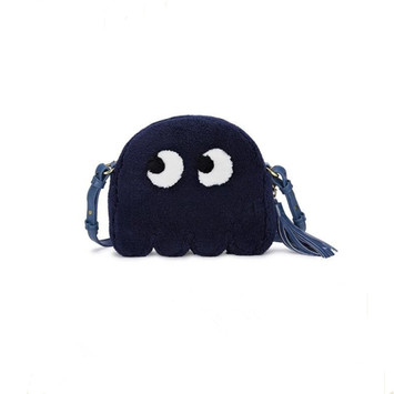 Cartoon decorative plush textured shoulder bag