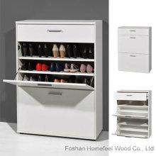 Gabinete de armazenamento de sapato de pé grande em branco de madeira (HF-EY0819)