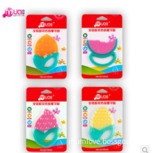 Silicone colorful fruit shaped silicone baby teether funny best design