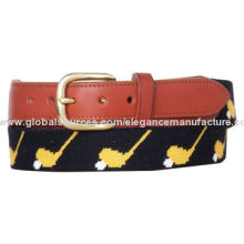 Golf Belts with Solid Brass Pin Buckle, Genuine Cowhide Leather