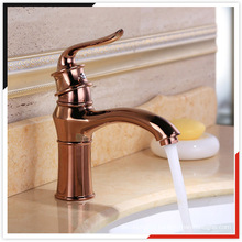 China OEM pink gold zinc die casting brass basin mixer bathroom faucet