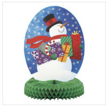 New Design 14 Inch Christmas Snowman Paper Honeycomb Centrepiece Decoration