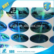 Alibaba fabricant de porcelaine bon marché autocollant d'hologramme 3d personnalisé avec preuve de sabotage