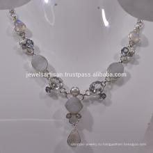 Белый Агат И Мульти Драгоценных Камней 925 Серебряный Ожерелье Ювелирные Изделия