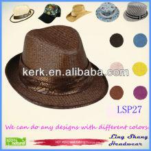 Sombrero de paja de papel de la naturaleza del 100% de la venta al por mayor de la correa del verano 2013, sombrero del partido, LSP27