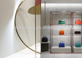 Bag store wooden display cases with stone finish LED lighted glass shelves and metal shelves with zinc-plating