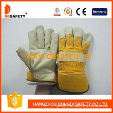 Guante de trabajo de los guantes de cuero del grano del cerdo de Ddsafety (DLP713)
