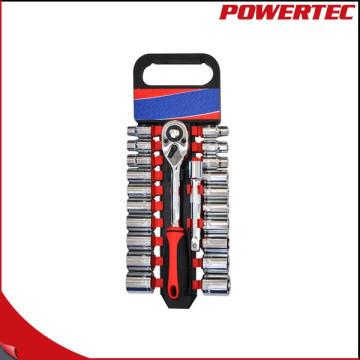 "Powertec 22PCS 1/2 ""Dr Ratchet Griff und Bit Socket Schraubenschlüssel Set"