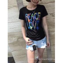Summer Fashion Applique Brief Baumwolle Rundhals Kurzarm T-Shirt