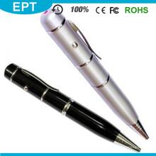 Atacado prata ponto de laser caneta forma usb flash drive para amostra grátis (tp021)