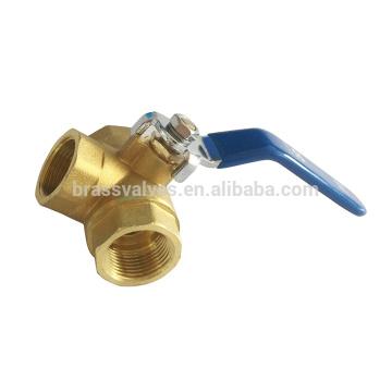 Válvula de bola de cobre amarillo de 3 vías del puerto lleno 600WOG