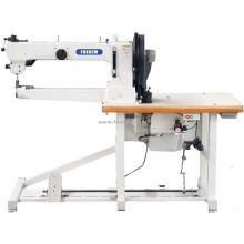 Máquina de coser de pespunte de pesaje de alta resistencia, cama de cilindro de brazo largo, pie de desplazamiento triple