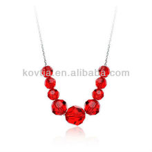 Dubai fashion bridal ruby jewelry red crystal bead necklace