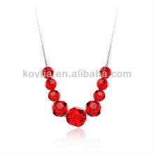 Dubai moda noiva rubi jóias colar de cristal vermelho talão