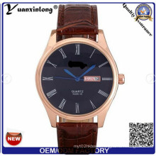 Yxl-510 Yuan Xin Long Genuine Leather All Gold Polish Case Double Date Window Dial Watches
