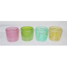Porte-bougie en verre coloré clair en forme de cylindre / coupe (DRL06070)