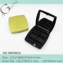 Vazio retangular quatro cores sombra de olho caso com espelho AG-OB1001A, embalagens de cosméticos do AGPM, cores/logotipo personalizado