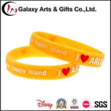 Производитель Китайский Стиль Моды Стойкость Реклама Оранжевый Выбитый Wristband Кремния