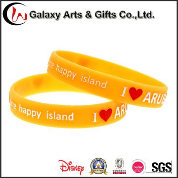 Fabricante chino Fashion Style Vitality Advertizing Naranja en relieve pulsera de silicona