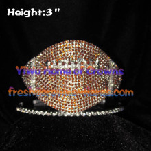 American Football Shaped Crystal Rhinestone Crowns