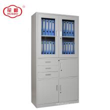 Huadu brand up swing glass door combined three drawer metal filing cabinet