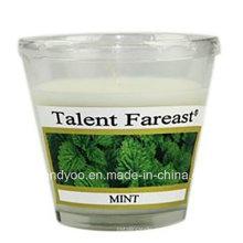 Vela perfumada de soja de menta en vidrio