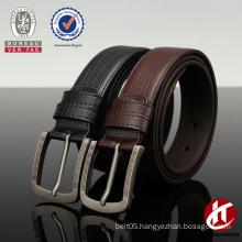 Men's black/brown crocodile leather belt