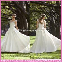 WD1179 Novo design com baixo preço fora do ombro cintilações brilhantes cintas fraldas de satén bolsos lados 2014 convidados vestidos de noiva