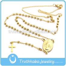 Mode religiösen Schmuck für 2016 Gold Kreuz Anhänger Jungfrau Maria Christian 4mm Rosenkranz Halskette Edelstahl Rosenkranz Halskette