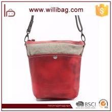 Bunte Leder Canvas Messenger Bag für Damen Umhängetasche