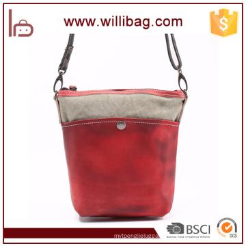 Colorful Leather Canvas Messenger Bag For Women Shoulder Bag
