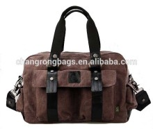 Men canvas leisure bag with outside pockets and microfiber leather handles
