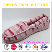Удобный полосатый махровый закрытый плоский ботинок для женщин