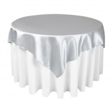 Poliéster cetim tabela de prata sobreposições para casamento