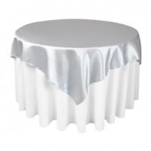Полиэфирные сатиновые столы Серебряные накладки для свадьбы