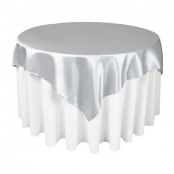 Satén de poliéster tabla de plata superposiciones para la boda