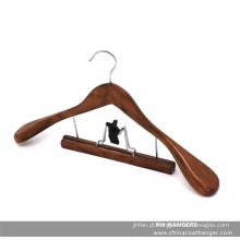 Cabide de terno antigo de madeira Nogueira braçadeira para o pano