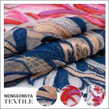 Conception personnalisée En gros doux brodé polyester épais tricot tissu