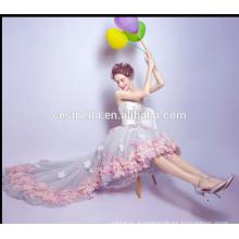 Горячая Саллер платья vestido де noite на заказ без бретелек элегантный милая шифон Пром платья спереди короткие сзади длинные