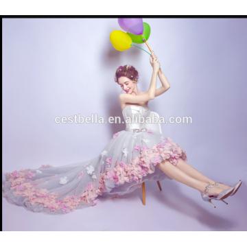 Heißer Saller Vestido de Noite Nach Maß trägerloses elegantes Schatz-Chiffon- Abschlussball-Kleid-Frontseiten-kurzes rückseitiges langes