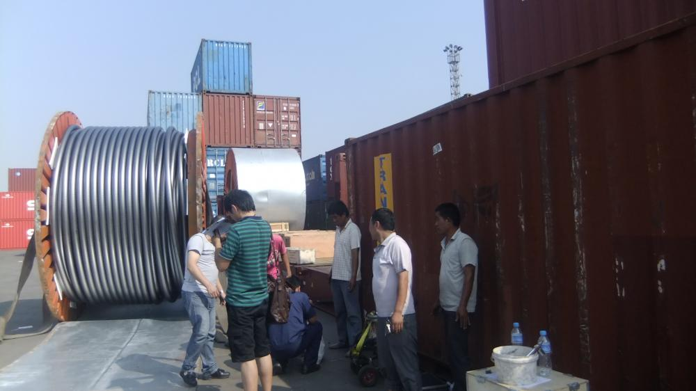 132KV CABLE WITHNESSED BY SGS DELELGATES IN SEA PORT BEFORE LOADING IN CONTAINERS