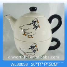 Creativedecal duck ceramic 2pc Teapot Set